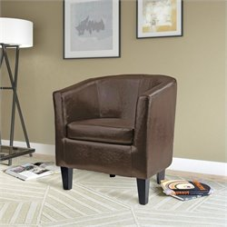 Sonax CorLiving Antonio Leather Club Barrel Chair in Brown