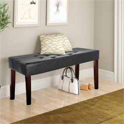 Sonax CorLiving Fresno 12-Panel Bench in Black Leatherette
