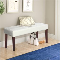 Sonax CorLiving Fresno 12-Panel Bench in White Leatherette