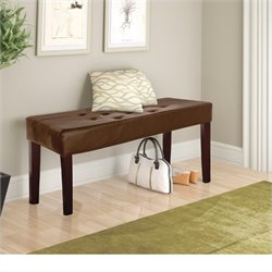 Sonax CorLiving Fresno 12-Panel Bench in Brown Leatherette