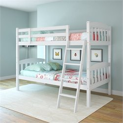 Sonax CorLiving Ashland Twin Single Bunk Bed in Snow White