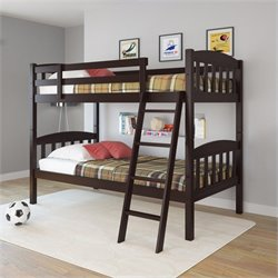 Sonax CorLiving Ashland Twin Single Bunk Bed in Dark Cappuccino
