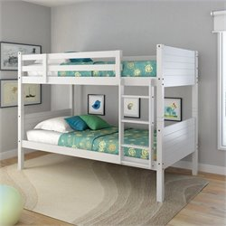Sonax CorLiving Ashland Twin Single Panel Bunk Bed in Snow White