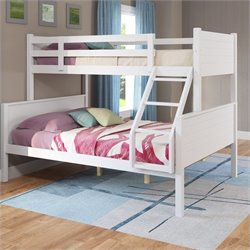 Sonax CorLiving Ashland Twin-over-Full Panel Bunk Bed in Snow White