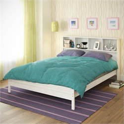 Sonax CorLiving Ashland Full Double Bed with Bookcase Headboard in White