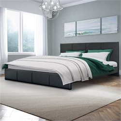 Sonax CorLiving Fairfield King Bed in Black Bonded Leather