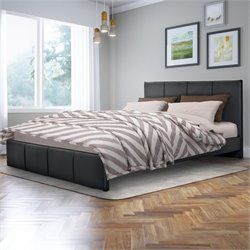 Sonax CorLiving Fairfield Queen Bed in Black Bonded Leather