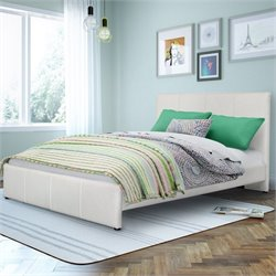 Sonax CorLiving Fairfield Full Double Bed in White Bonded Leather
