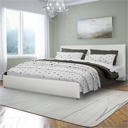 Sonax CorLiving Fairfield King Bed in White Bonded Leather