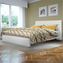 Sonax CorLiving Fairfield Queen Bed in White Bonded Leather