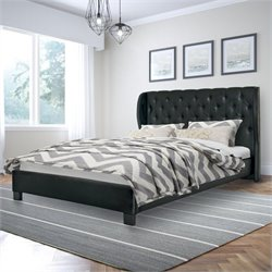 Sonax CorLiving Fairfield Tufted Queen Bed in Black Bonded Leather