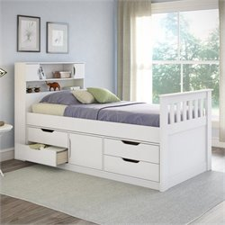 Sonax CorLiving Madison Twin Single Captain's Bed in Snow White