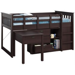 Sonax CorLiving Madison Single Desk and Storage Twin Loft Bed in Rich Espresso