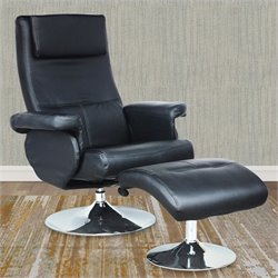 Sonax CorLiving Yalaha Leatherette Reclining Lounge Chair with Curved Ottoman in Rich Black