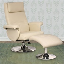 Sonax CorLiving Yalaha Leatherette Reclining Lounge Chair with Curved Ottoman in Ivory Cream
