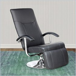 Sonax CorLiving Yalaha Leatherette Reclining Lounge Chair in Rich Black
