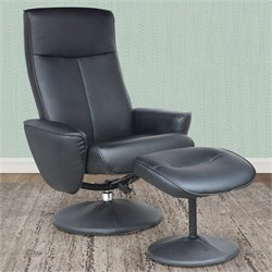 Sonax CorLiving Yalaha Faux Leather Reclining Lounge Chair in Black