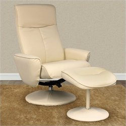 Sonax CorLiving Yalaha Leatherette Reclining Lounge Chair with Ottoman in Ivory Cream