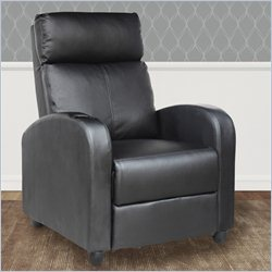 Sonax CorLiving Yalaha Leatherette Push Back Reclining Chair in Rich Black