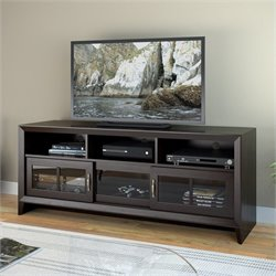 Sonax CorLiving Carlisle 3-Door TV Bench in Coffee Black