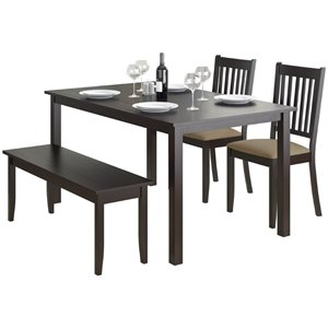 CorLiving Atwood 4 Piece Dining Set in Cappuccino