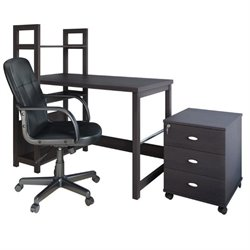 CorLiving Folio 3 Piece Computer Desk Set in Black Espresso