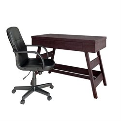 CorLiving Folio Computer Desk and Office Chair in Modern Wenge