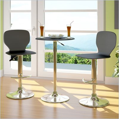 CorLiving Slim Adjustable Bar Stool in Black Leatherette (Set of 2)