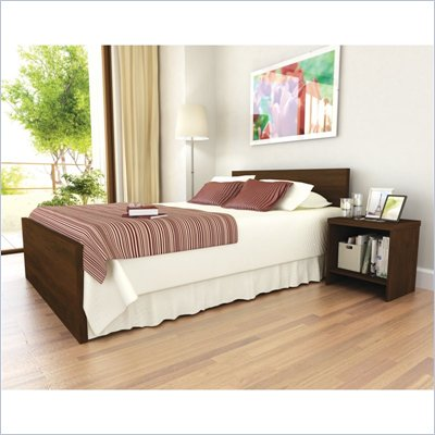 Sonax Brook Hollow Core Double Bed and Nightstand Set in Urban Maple