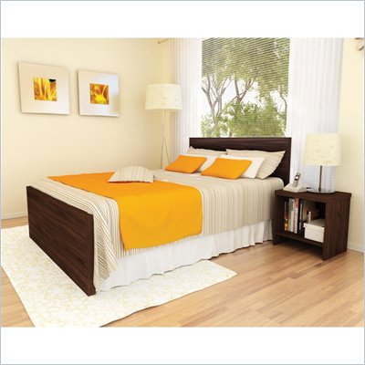 Sonax Brook Hollow Core Double Bed and Nightstand Set in Ebony Pecan
