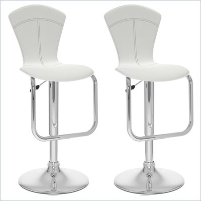 Sonax CorLiving Tapered Back Bar Stool in White Leatherette (Set of 2)