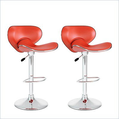 Sonax CorLiving Form Fitting Bar Stool in Red Leatherette (Set of 2)
