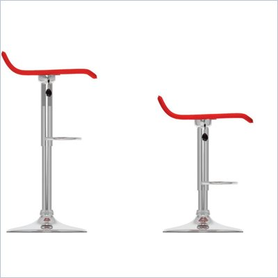 Sonax CorLiving Curved  Bar Stool in Red Leatherette (Set of 2)
