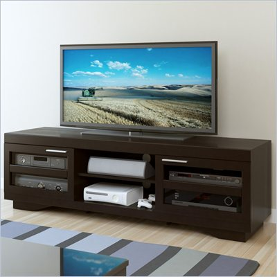 "Sonax Granville 66"" Wood Veneer TV Stand in Mocha Black"