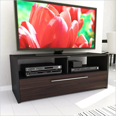 Sonax Naples TV Stand in Black and Ebony Pecan