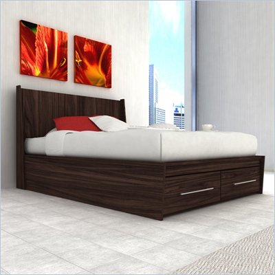 Sonax Pacific Full Platform Bed with Storage Drawers in Ebony Pecan