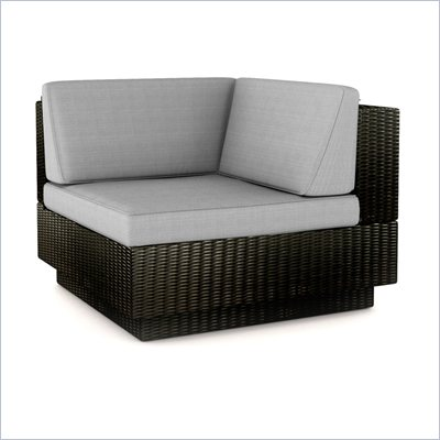 Sonax Textured Black &quot;L&quot; Seat in Black Resin Rattan