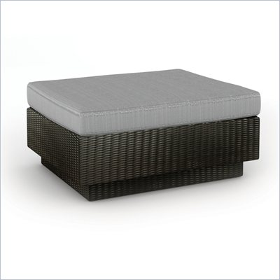 Sonax Textured Black Ottoman in Black Resin Rattan