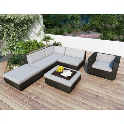 Sonax Z-303-TPP Park Terrace Textured Black 5 Piece Sectional Patio Set