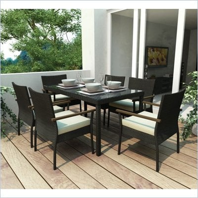 Sonax PT-601 Textured Black&#160;7 Piece Patio Dining Set