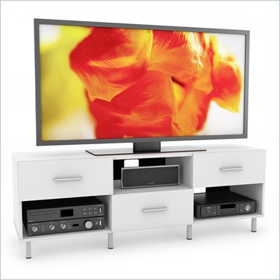 "Sonax Sedona 60"" Staggered 3 Drawer TV Stand in Frost White"