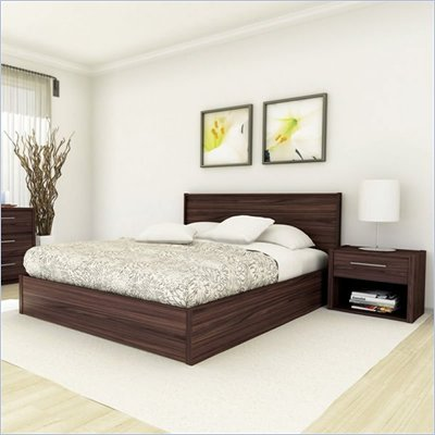 Sonax Shore Hollow Core Queen Bed and Nightstand Set in Ebony Pecan