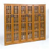 Leslie Dame CD/DVD Wall Rack Media Storage w/ Slat Door Fronts in Oak