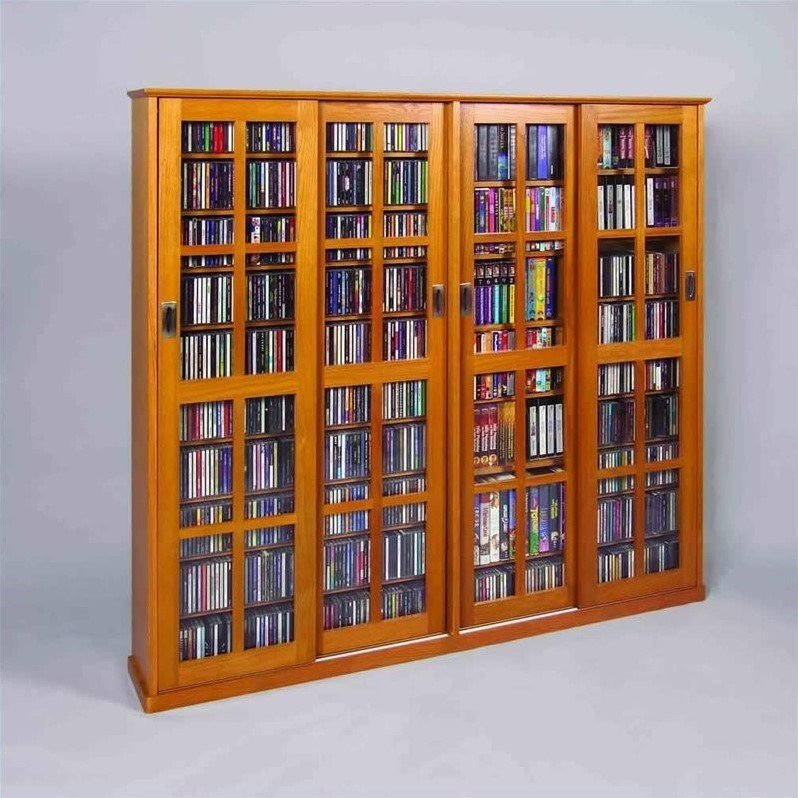 Leslie Dame 4-Door Glass CD DVD Wall Media Storage Cabinet-Oak