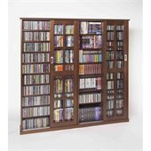Leslie Dame Sliding Door Inlaid Glass Mission Multimedia Cabinet