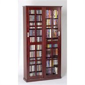 Leslie Dame Sliding Door Inlaid Glass Mission Cabinet in Dark Cherry