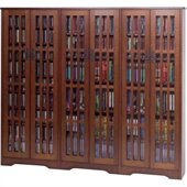 Leslie Dame Inlaid Glass Mission Multimedia Cabinet in Walnut