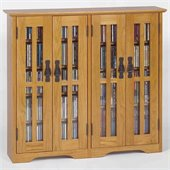Leslie Dame Wall Hanging Mission Glass Mission Oak Multimedia Cabinet