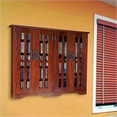 Leslie Dame Wall Hanging Mission Glass Walnut Multimedia Cabinet