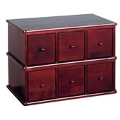 Leslie Dame 6- Drawer Deluxe Modular CD Storage Rack in Cherry